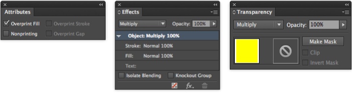 OverPrint Using Multiply and Attributes Panel