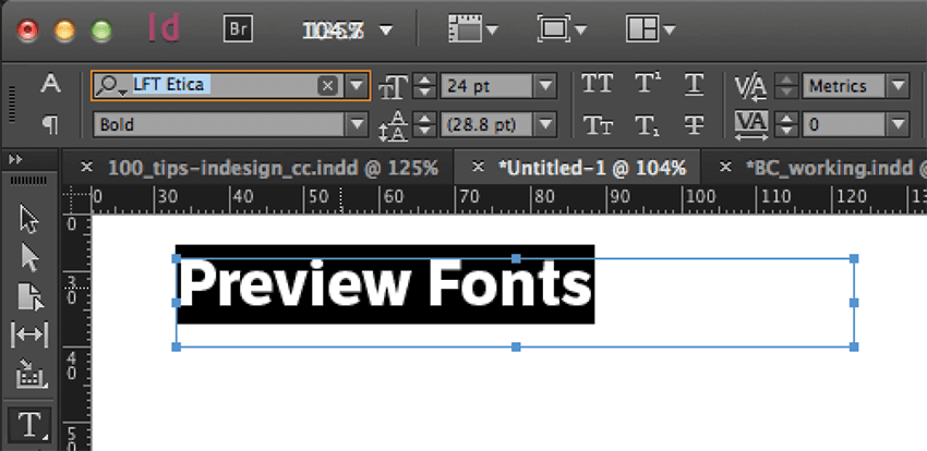 indesign tips and tricks: preview font screen capture