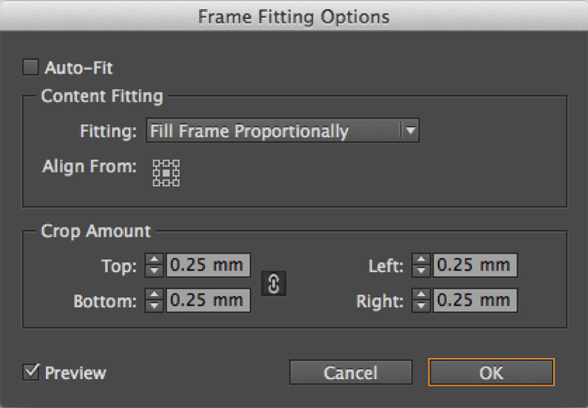indesign tricks: frame fitting options screen capture